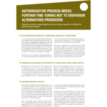 Authorisation process needs further fine-tuning not to disfavour alternatives producers (March 2015)