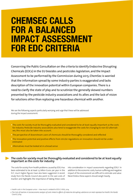 ChemSec calls for a balanced impact assessment for EDC criteria