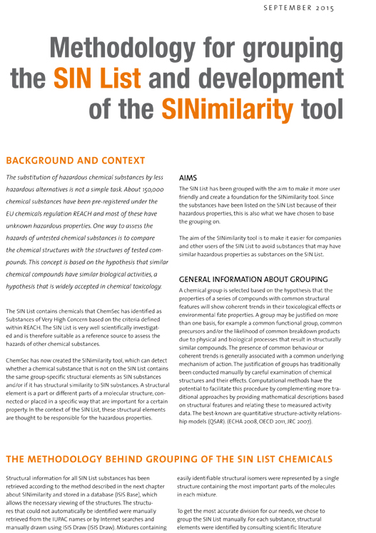 Methodology for grouping the SIN List and development of the SINimilarity tool