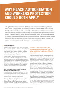 Why REACH Authorisation and Workers Protection should both apply (May 2016)
