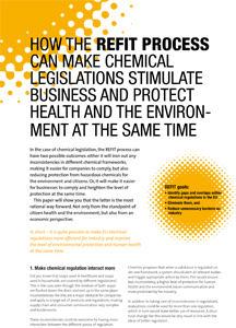 How the REFIT process can make chemical legislations stimulate business and protect health and environment at the same time (June 2016)