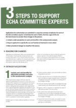 3 steps to support ECHA committee experts (May 2016)