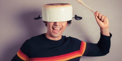 cooking pot on head