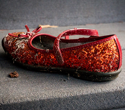 A single ruby slipper left behind on a step