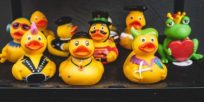 Rubber ducks in various outfits
