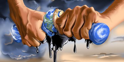 Hands wringing out oil from the world