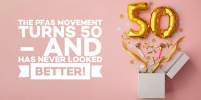 """Golden balloons in the shape of 50 and confetti coming out of a white box, next to the text """"The PFAS Movement turns 50 – and has never looked better"""""""